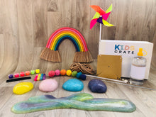 DIY Rainbow wallhanging, rainbow glittery slime and a rainbow Pinwheel craft kit for kids