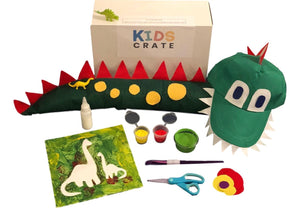 Paint your own Dinosaur Canvas, make a dinosaur tail and dinosaur cap.