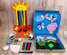 Rainbow Craft for kids. Make a Sun and rainbow, fluffy sheep, eye dropper butterflies, blossom tree, felt spring and weather play scenes.