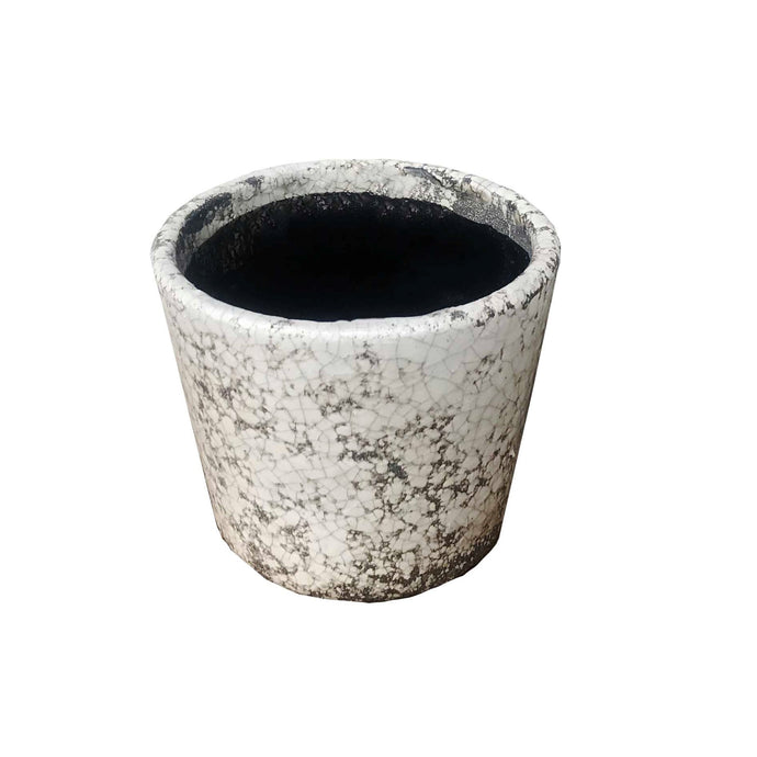 Tang Antique Cover Pot Rustic White 12x10cm