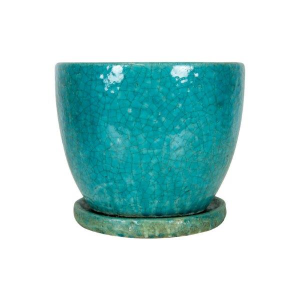 Tang Round Planter with Saucer Rustic Blue 19x15cm