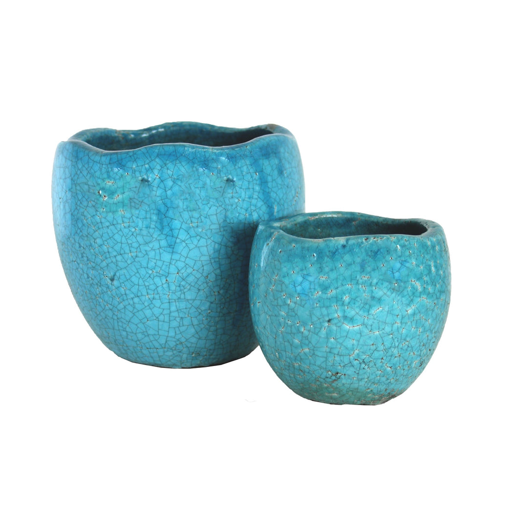 Tang Antique Egg Rustic Blue 20x18cm