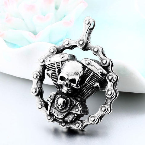 Skull Motorcycles Engine Pendant BP8-348
