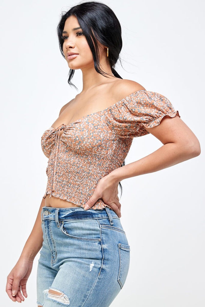 Sheila Top-Peach Florals