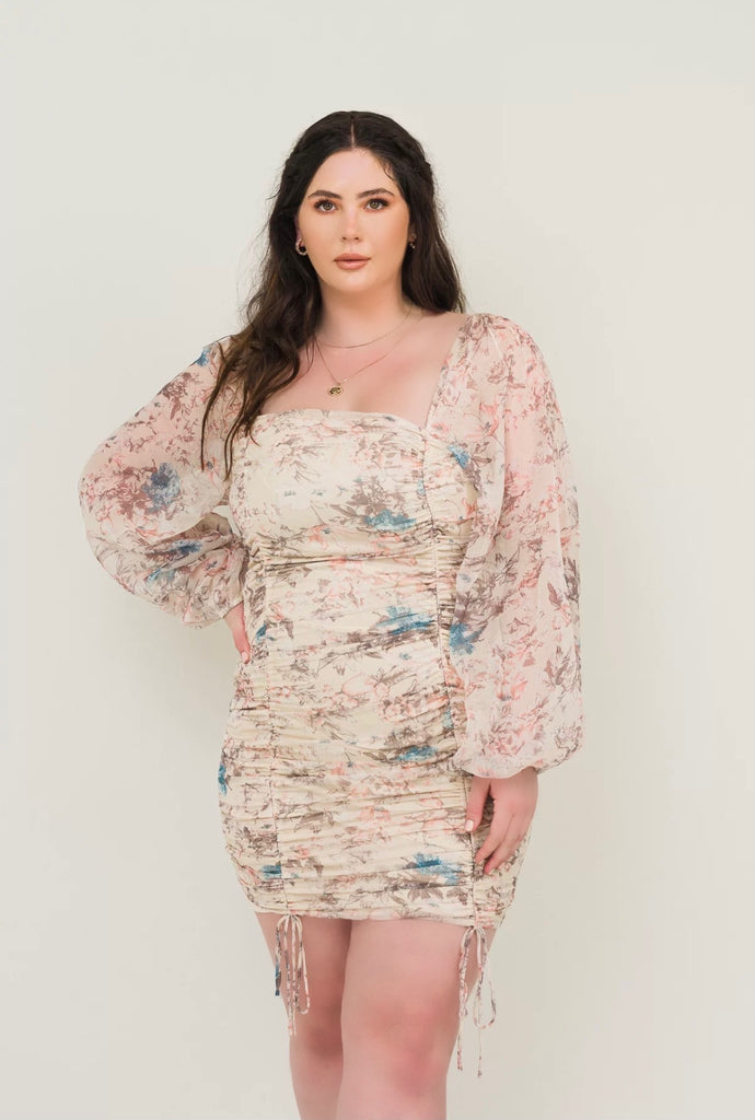 Amarilys Taddie Dress - Beige - Blue Florals