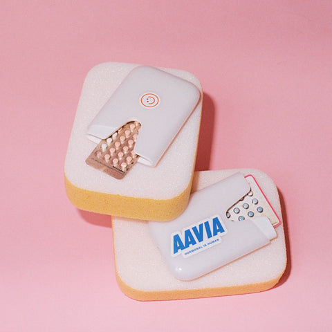 Aavia smart birth control pill cases pink background
