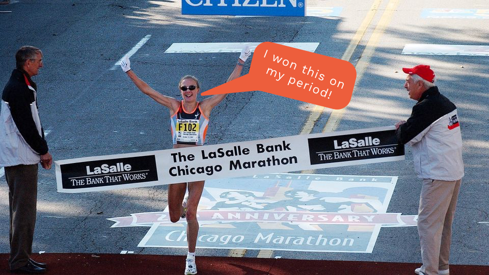 Paula Radcliffe, the multi-marathon champion, wins a race during her period