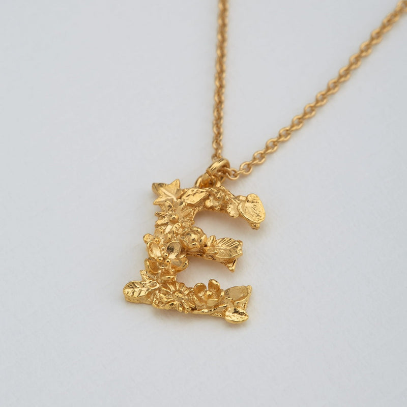 Necklace Floral Letter Gold Plate E