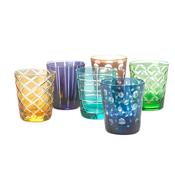 Glass Etched Set/6 Coloured Pols
