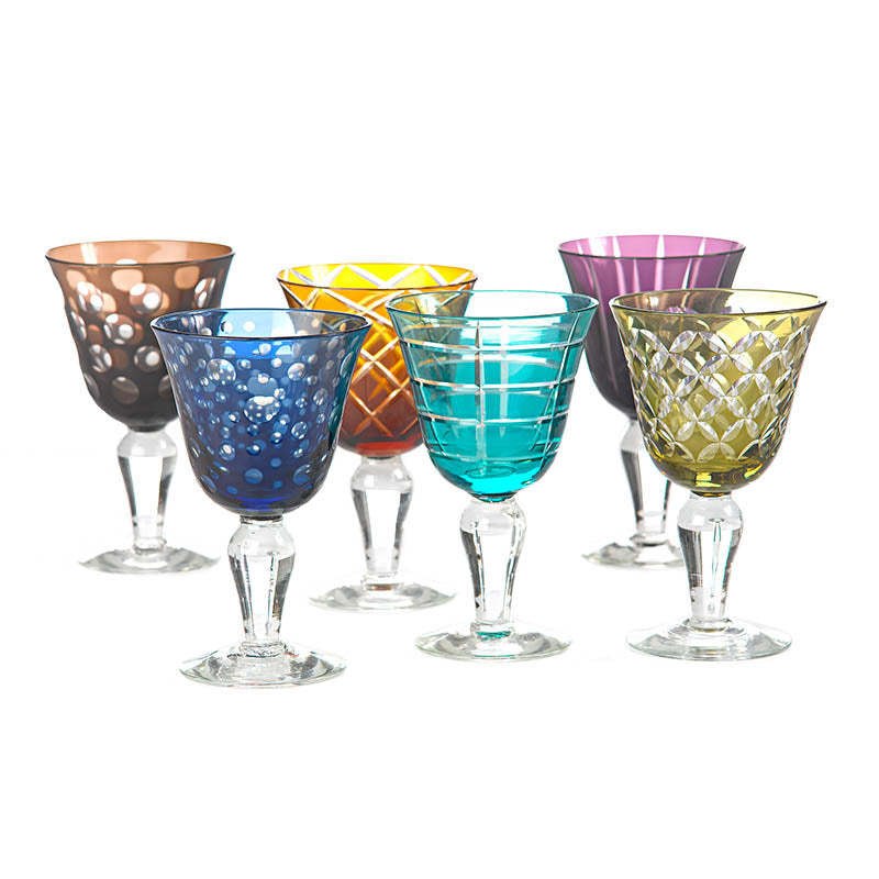 Glass Wine Set/6 Coloured Etched Pols