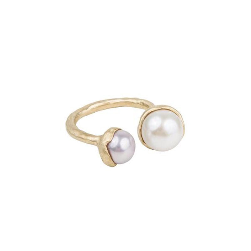 Ring Gold Double Pearl No. 8