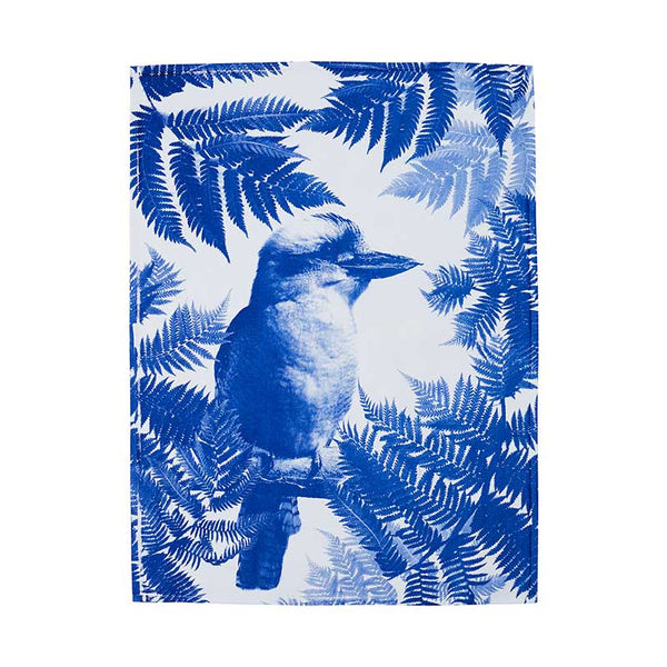 Tea Towel Cotton Kooka Fern Blue