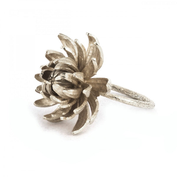 Ring Med Silver Flower Large Chrysanthemum