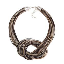 Necklace Grey New Moon Knot