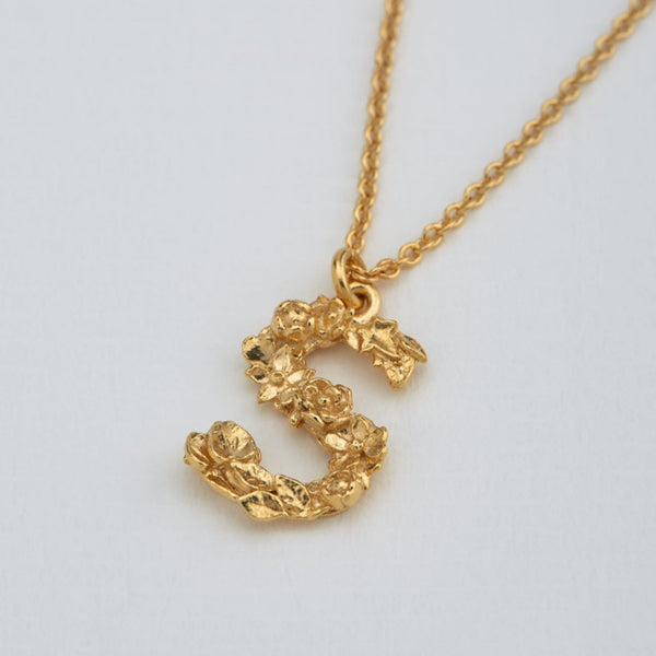 Necklace Floral Letter Gold Plate S