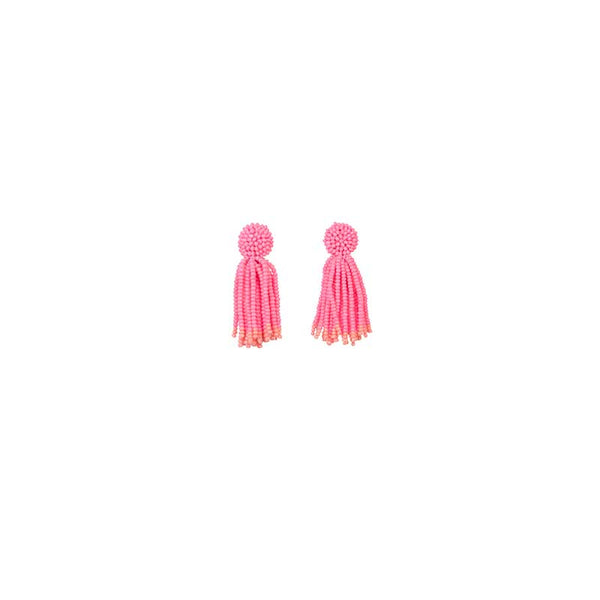 Earrings Pink Tassel Bead