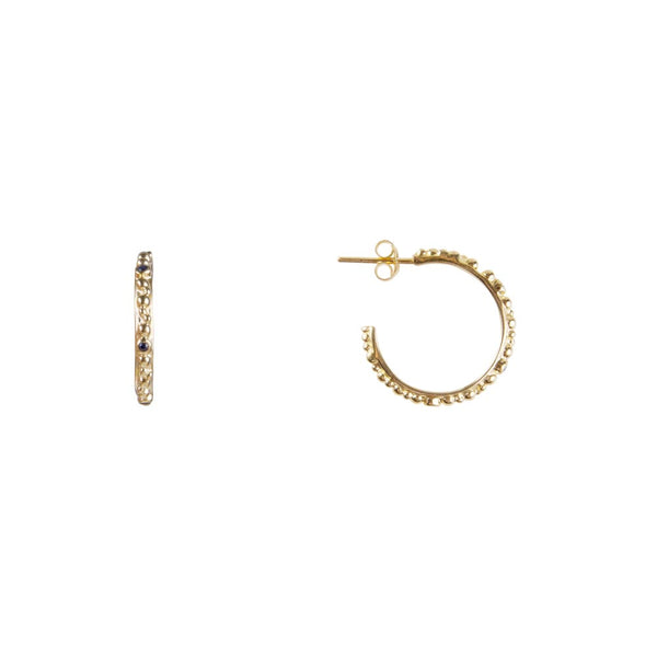 Earrings Gold Samara Blue Sapphire Mini Crown Hoops
