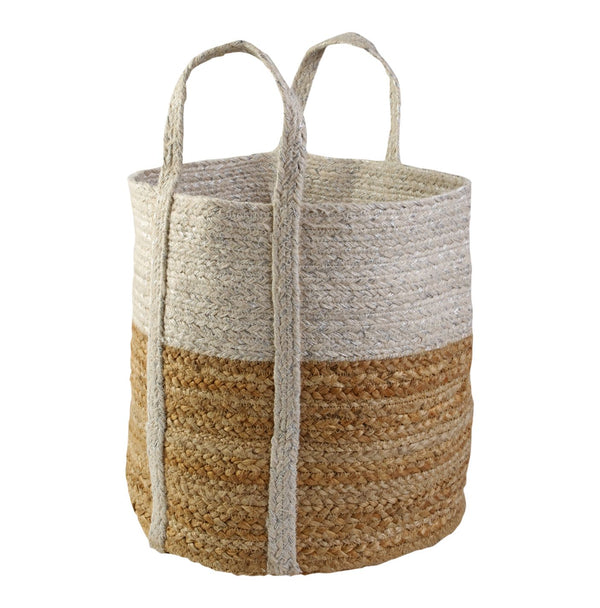 Basket Small White Metallic/natural 30cmx30cm