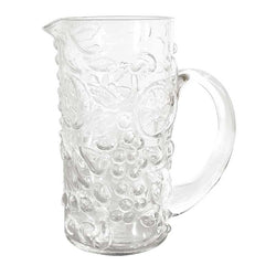 Pitcher Clear Grape Embossed