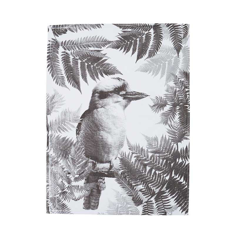 Tea Towel Cotton Kooka Fern black