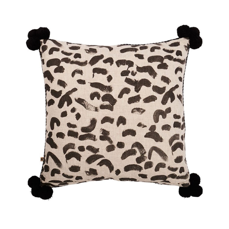 Leopard Black Cushion Pom 60cm