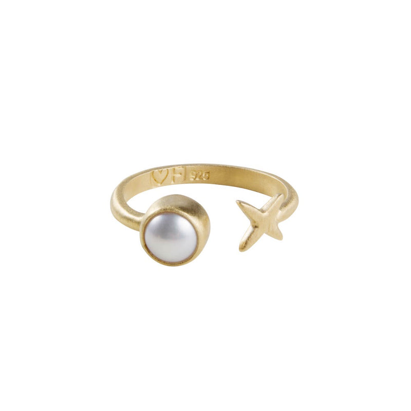 Ring Gold Pearl Kiss Size 8