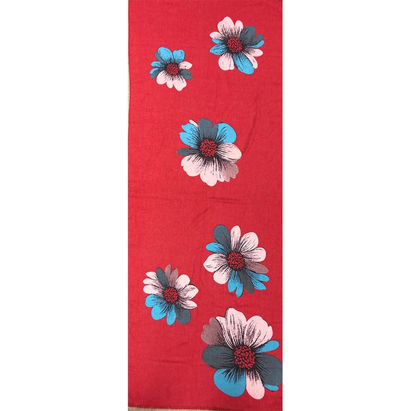Scarf Red Floral Cotton Viscose