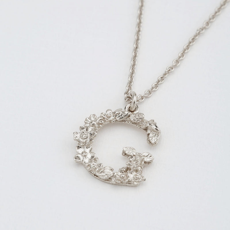 Necklace Floral Letter Silver G