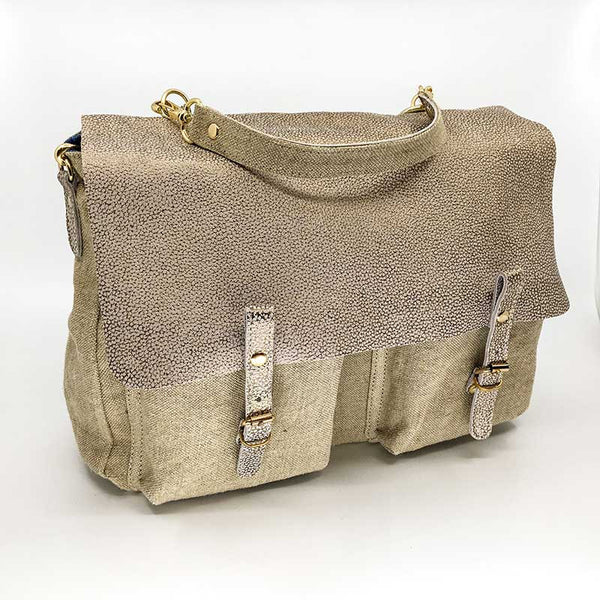 Handbag Large Leather Canvas Light
