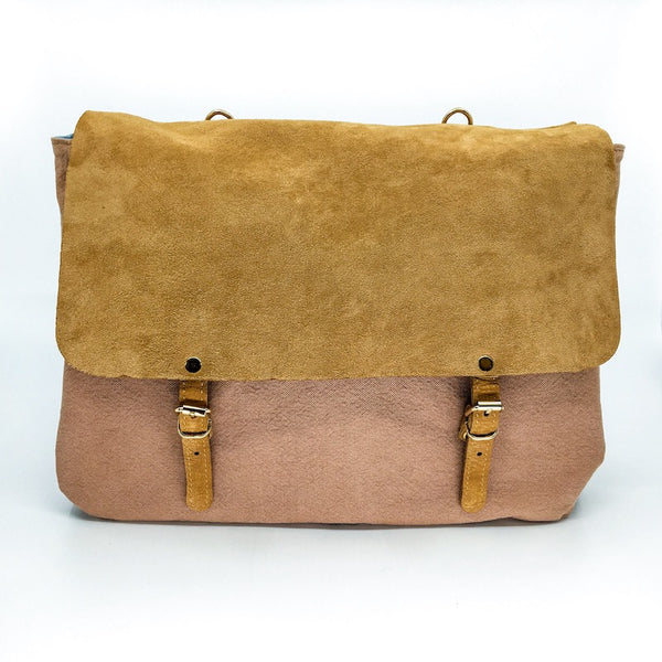 Handbag Large Leather Canvas Chameau