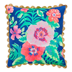 Fiji Floral Blue Pink Cushion 50x50cm