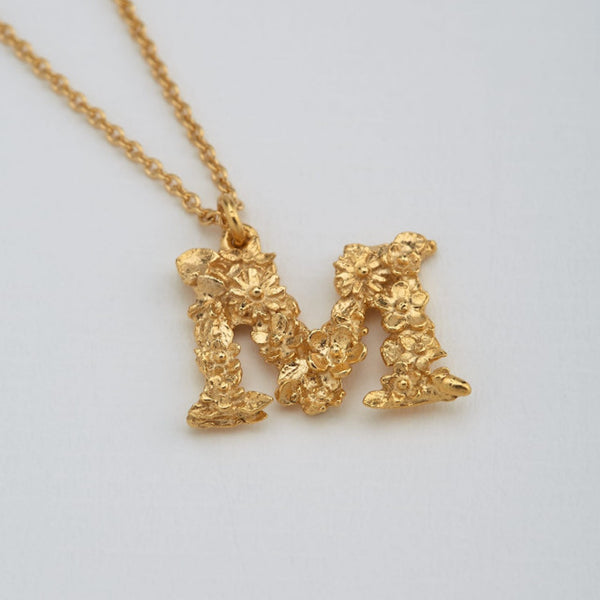 Necklace Floral Letter Gold Plate M