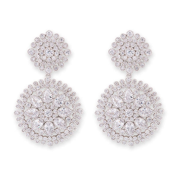 Cubic Zirconia Double Circle Earrings