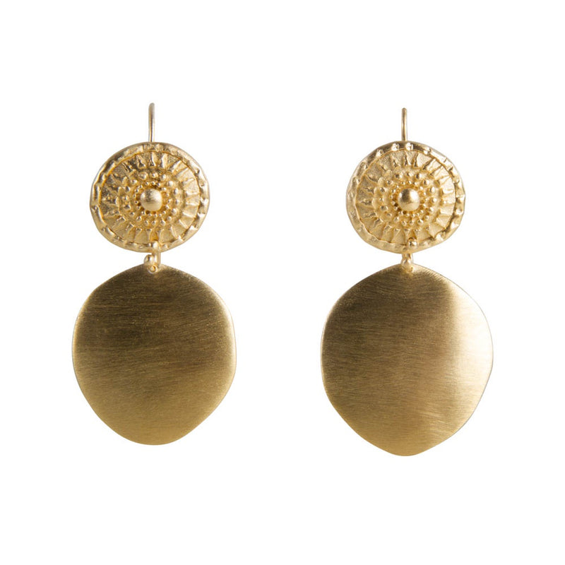 Earrings Gold Tribal Shield
