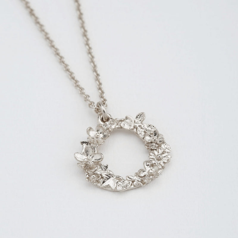 Necklace Floral Letter Silver O