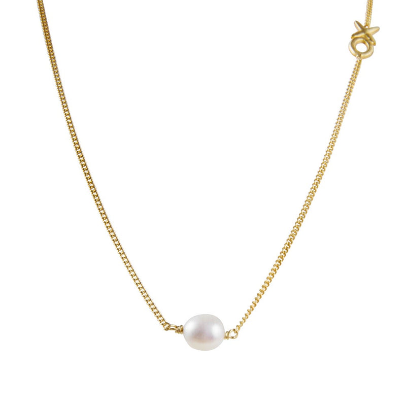 Necklace Gold Pearl Kiss Hug