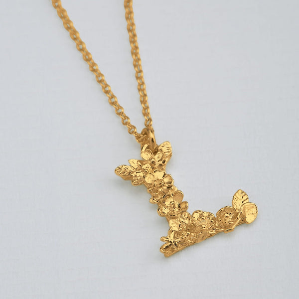 Necklace Floral Letter Gold Plate L