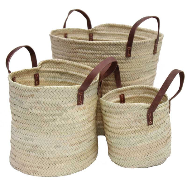 Large Basket with Leather Handles