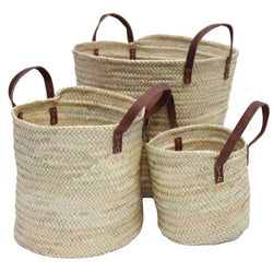 Small Basket with Leather Handles