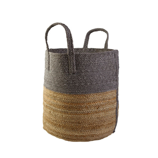 Basket Large Pewter/natural 40x40