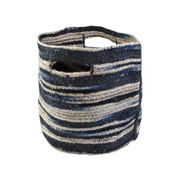 Basket Small Navy Stripe Jute 30cmx30cm