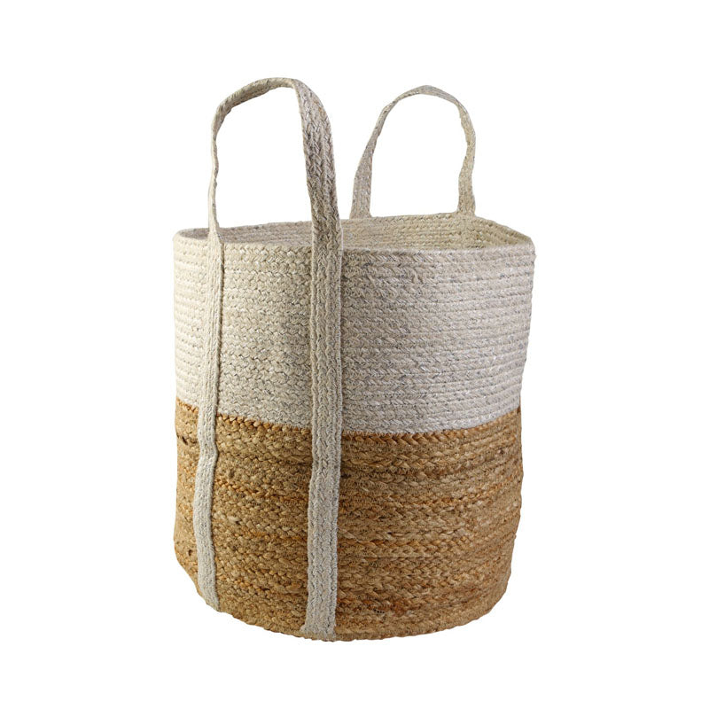 Basket Large White Metallic/natural 40cmx40cm
