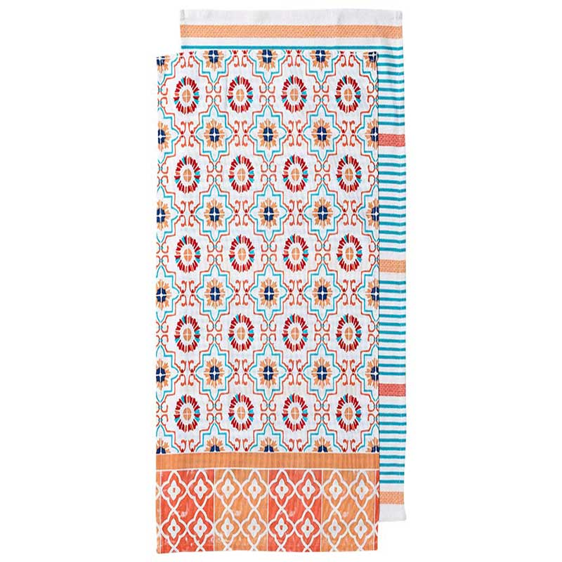 Tea Towel Set/2 Orange Fiesta