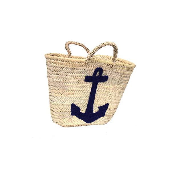 Market Shopping Basket with Blue Anchor
