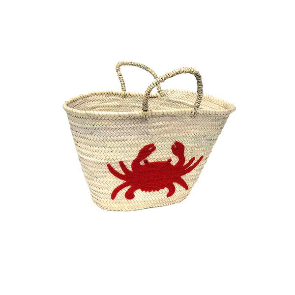 Market Shopping Basket with Red Crab Embroidery