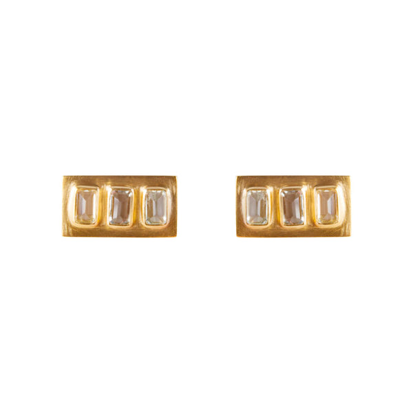Earrings Gold Aqua Baguette Studs