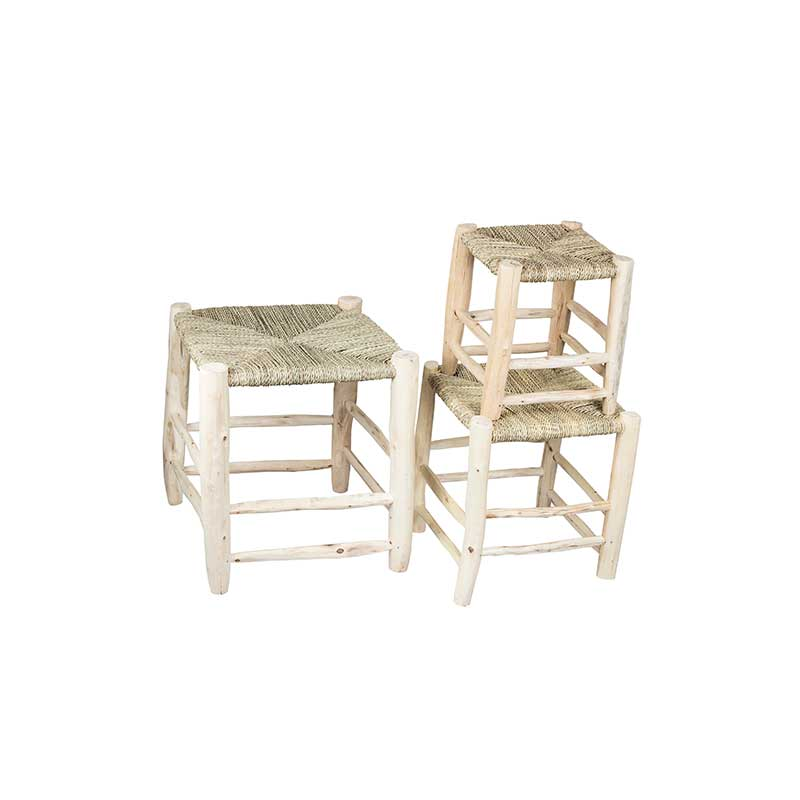 Stool Lge Wood/palm