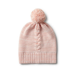 Hat Knitted Strawberry & Cream Pom Pom