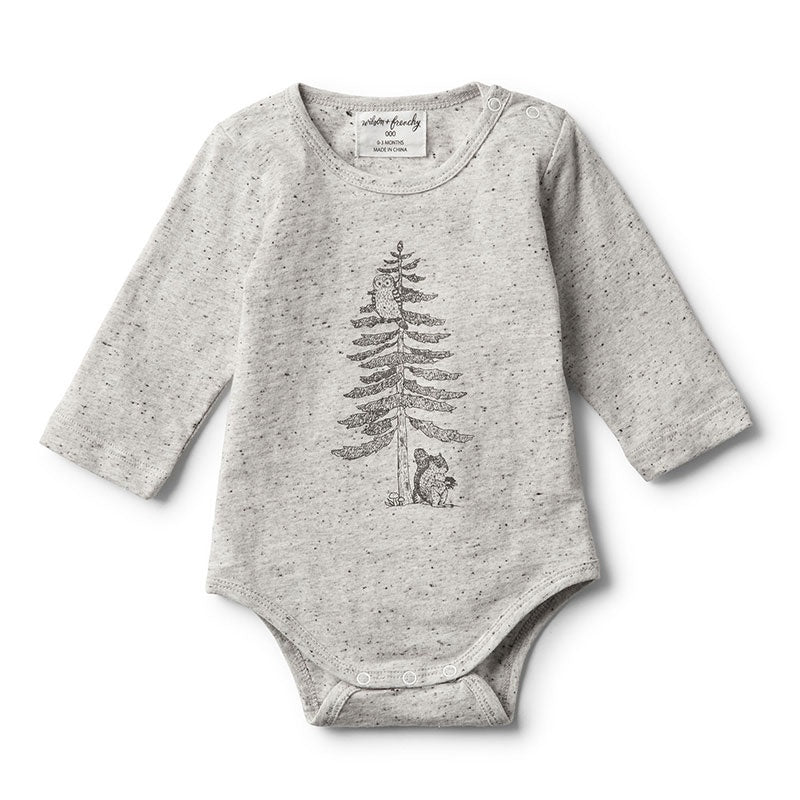 Bodysuit Long Sleeve Hello Forest Melange