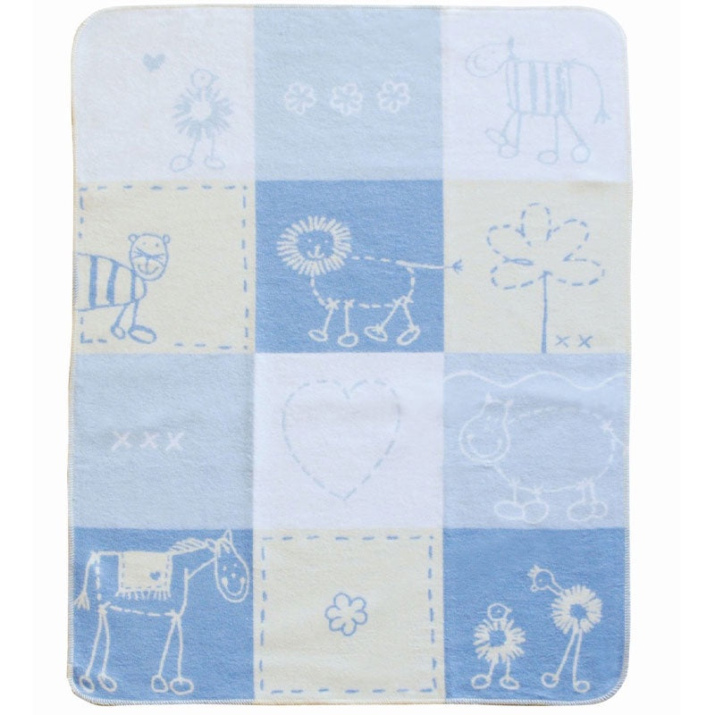 Blanket Bassinet Blue Love Patch